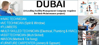 Urgent Requirement ITI and Diploma Holders in Facility Management Project  Dubai, UAE For Technician/Electrician and Plumber Positions