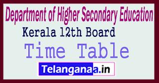 Kerala 12th Time Table 2018