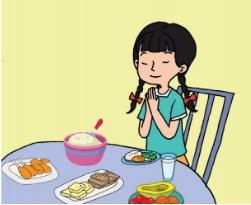 gambar ilustrasi berdoa sebelum makan