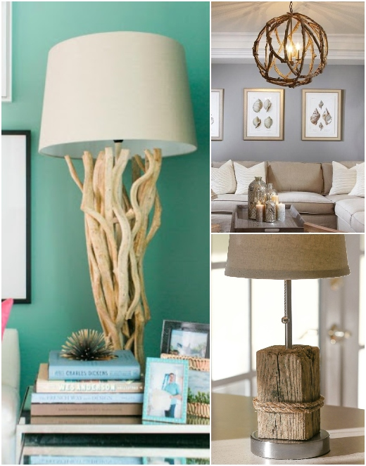 Coastal Nautical Beach Driftwood Lamps