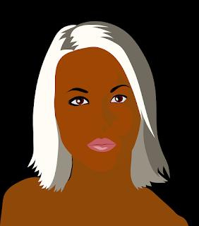 Desenho de Mulher de pele negra cabelo liso e platinado sobre fundo preto