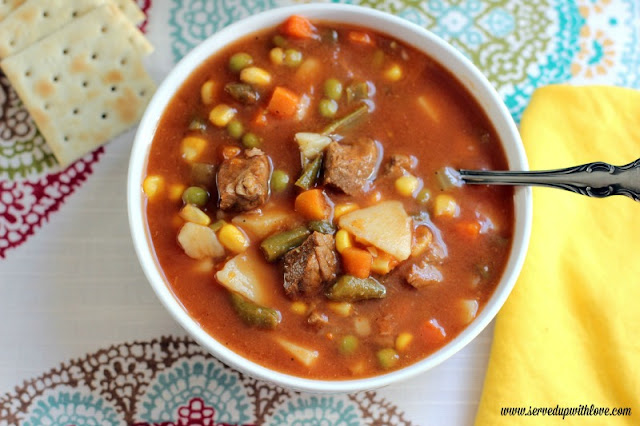 Moma's Vegetable Beef Soup recipe from Served Up With Love