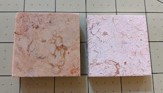 Polished, darker marble tile on left. Vinegar-soaked, paler marble on right.