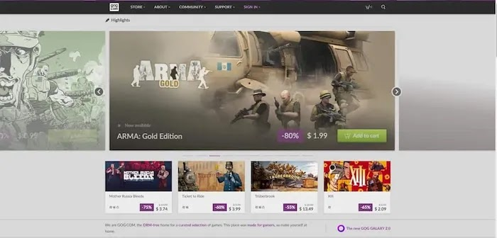 PC game download sites gog
