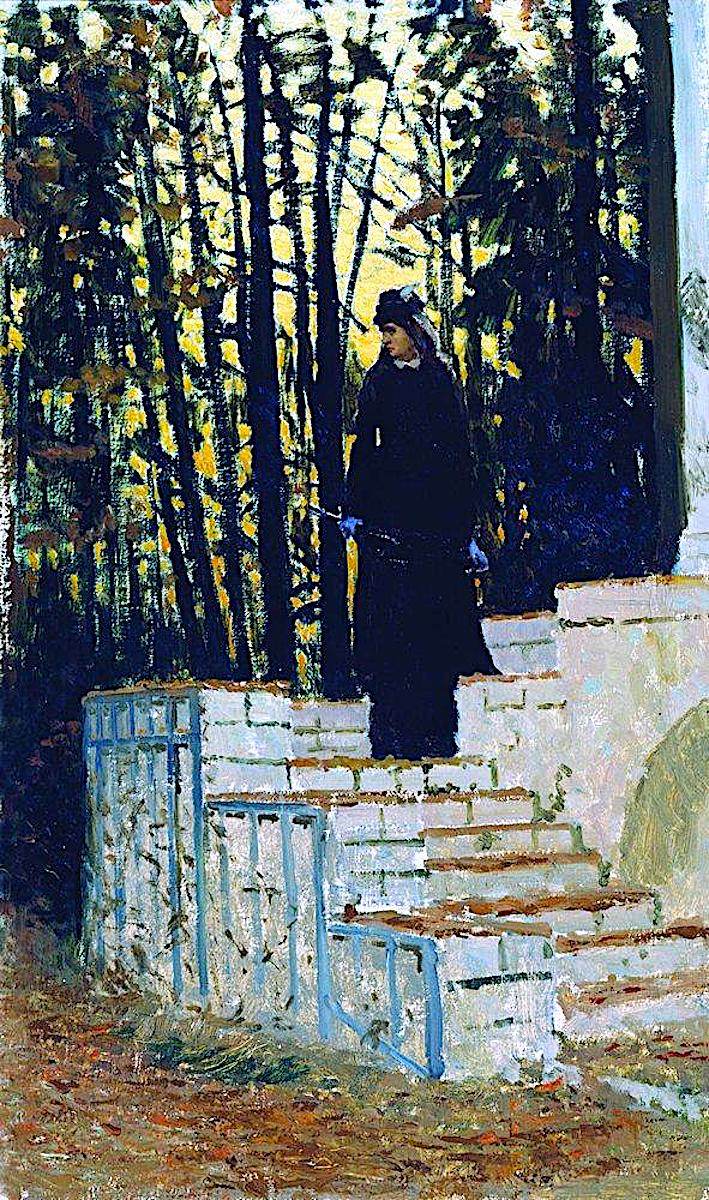 an 1883 Ilya Repin painting of a woman on stairs outdoors with a yellow sky