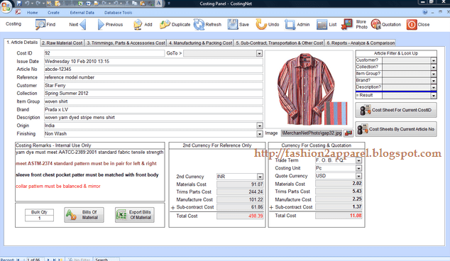 merchandiser prepares a price quotation for  Price Quotation for Garments (Long sleeve shirt)