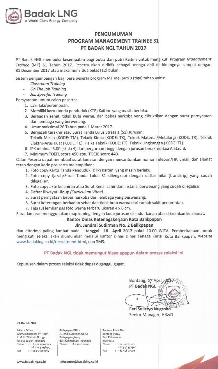 Penerimaan Management Trainee PT Badak NGL Tahun 2017