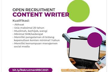 Lowongan Kerja Content Writer Rumah Bersalin Cuma-cuma (RBC)