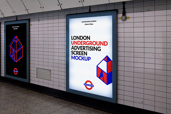 Download Poster Mockup PSD Terbaru Gratis - London Underground Ad Screen Mockup