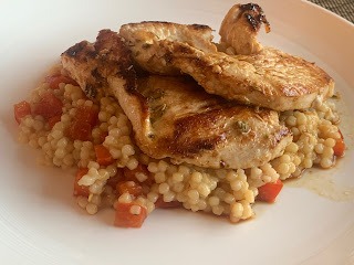 Lemon and Garlic Turkey Steaks with Giant couscous