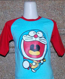 Kaos Raglan Anak Karakter Doraemon Biru