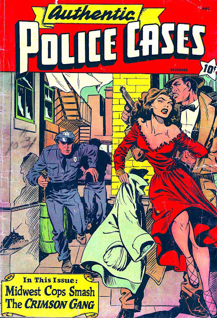 Authentic Police Cases v1 #10 st john crime comic book cover art by Matt Baker