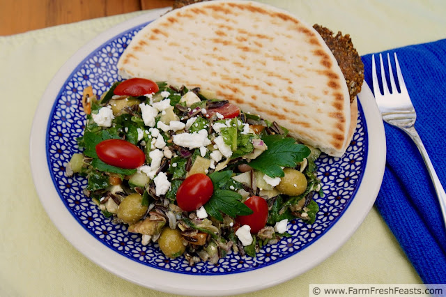 image of a blue plate with a serving of Greek Wild Rice Salad and a falafel-stuffed pita