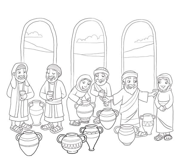 Lia mereles o primeiro milagre de jesus a transforma o for Picture into coloring page