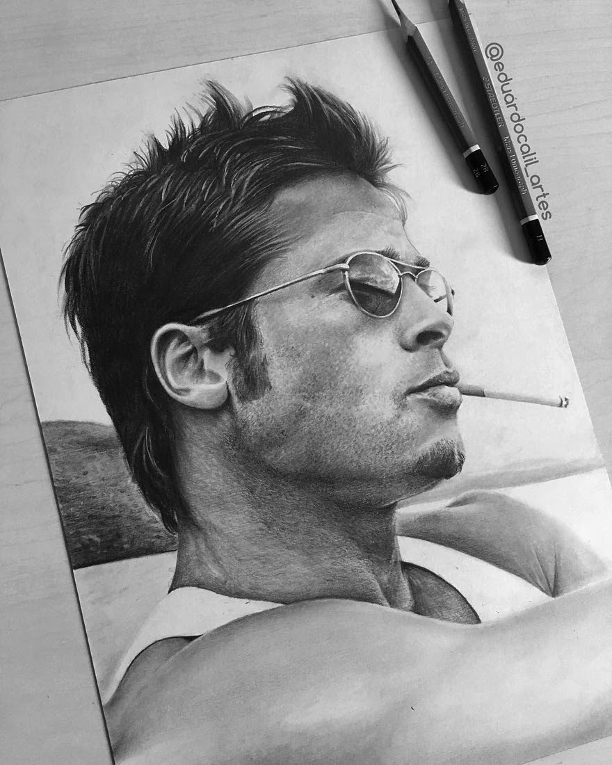 06-Brad-Pitt-Eduardo-Calil-Celebrity-Portrait-Drawings-Color-and-Black-and-White-www-designstack-co