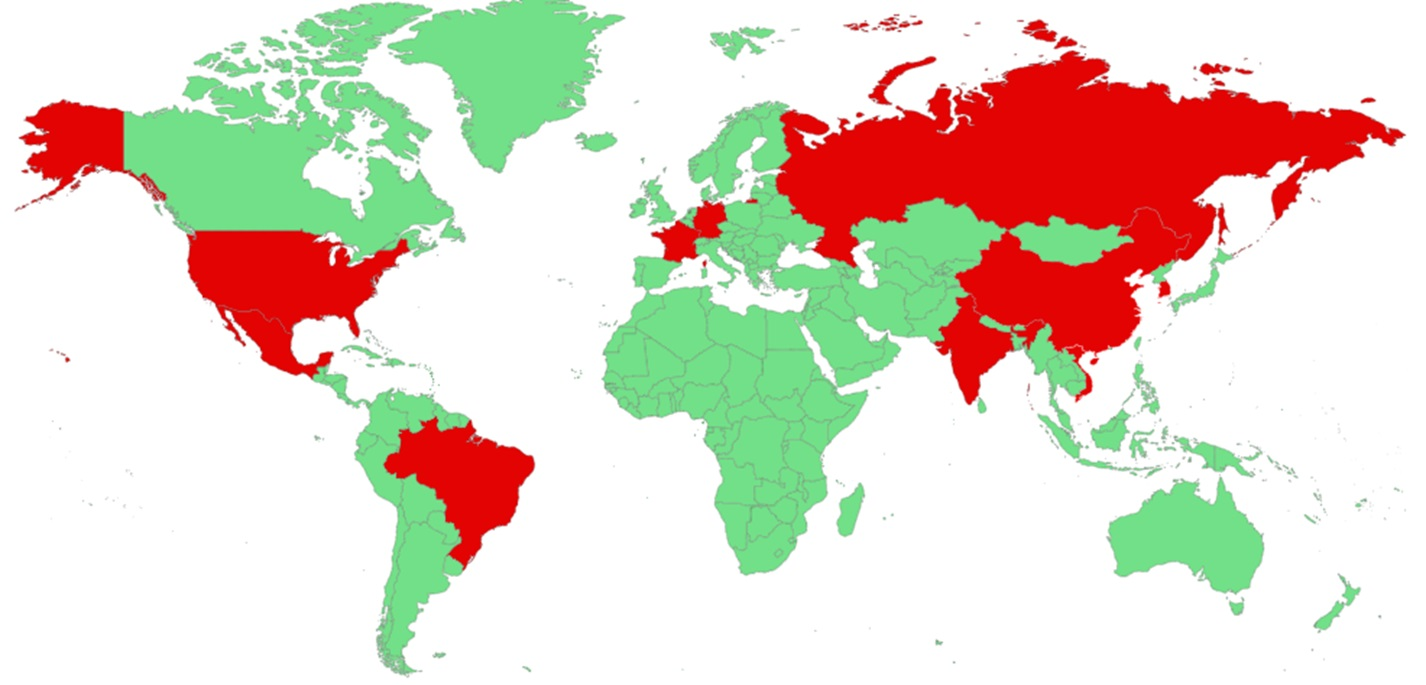 Geographical distribution of companies and individuals in different territories attacked by JSWorm ransomware in 2020
