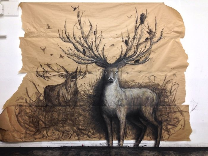 08-Stag-Fiona-Tang-2D-Sketches-that-Become-3D-Animals-www-designstack-co