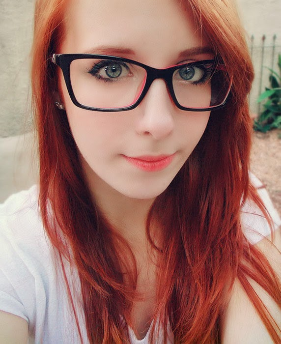girl Hot nerd glasses with redhead