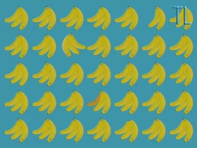 Encuentra las cinco diferencias en los plátanos