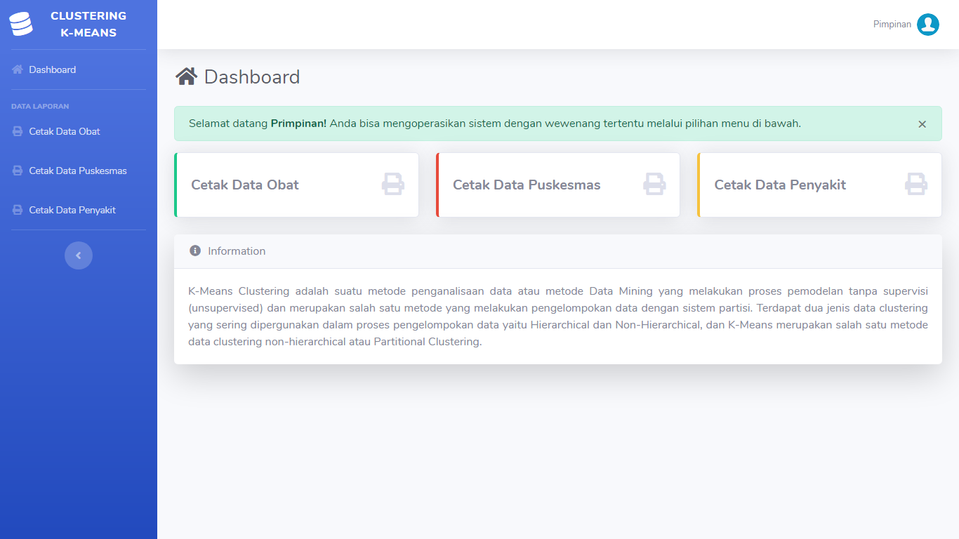 Aplikasi Data Mining Pengelompokan Puskesmas Terbaik Metode Clustering Algoritma K-Means - SourceCodeKu.com
