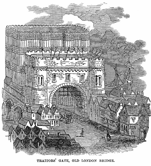 Traitors' Gate Old London Bridge illustration