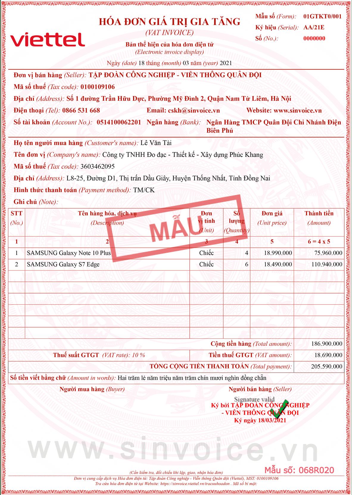 Mẫu hóa đơn điện tử số 068R020