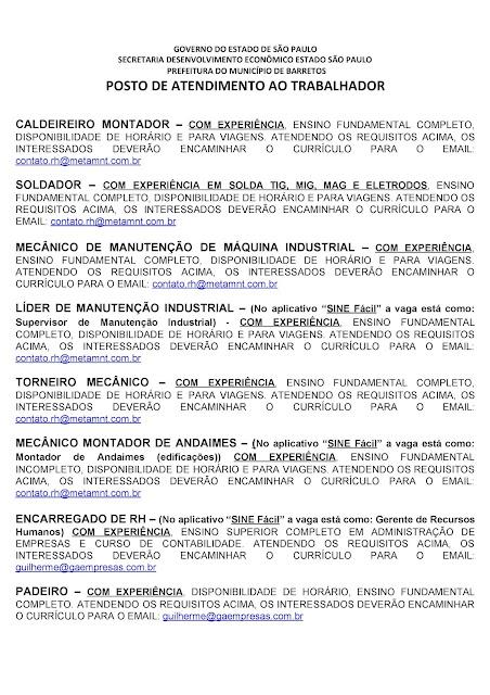 VAGAS DE EMPREGO DO PAT BARRETOS PARA 04-09-2020 PUBLICADAS NA TARDE DE 03-09-2020 - PAG. 8