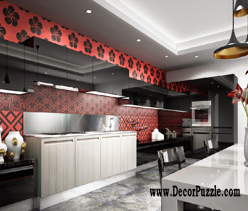Minimalist kitchen design and style, modern black and red kitchen