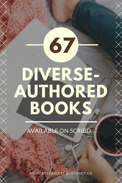 Banner that reads 67 Diverse-Authored Books Available On Scribd. The background is a faded image of an iPad and a book encircled by a person's jeans-clad leg. A pale hand holds a full coffee cup near the bottom of the picture.