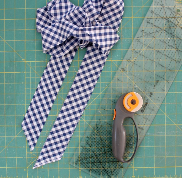 bias cut gingham strips