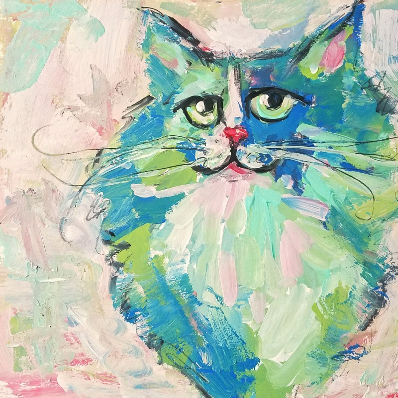 cat #3 by joanie springer 30 paintings in 30 days