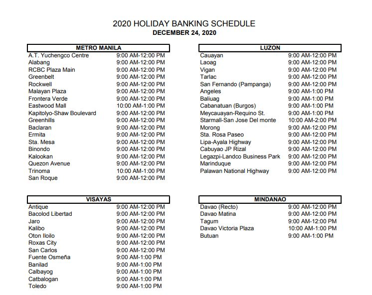 RCBC bank schedule December 24, 2020