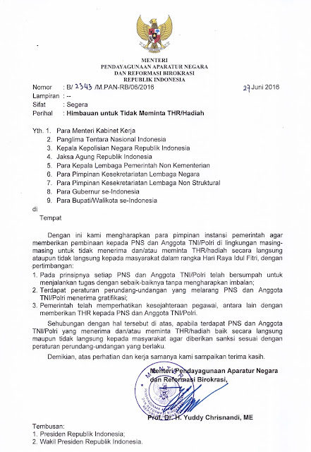 Surat Menteri PANRB Tentang Himbauan Untuk Tidak Meminta THR/Hadiah Dalam Rangka Hari Raya Idul Fitri