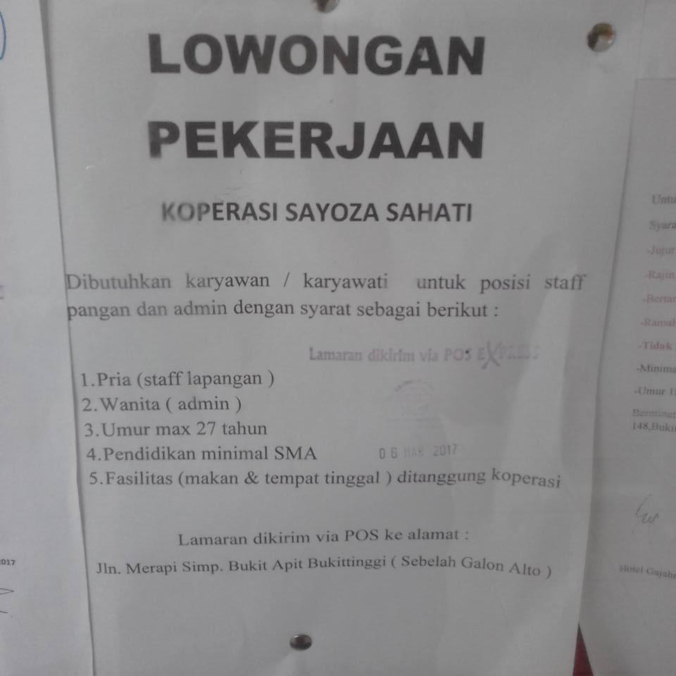 Lowongan Kerja di Padang – Koperasi Sayoza Sahati (Februari 2017)