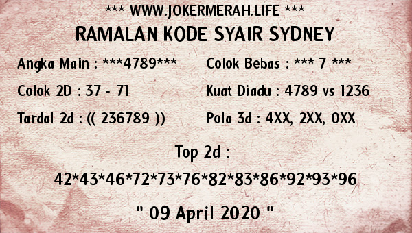Syair Sidney Kamis 09 April 2020 - Joker Merah Sidney