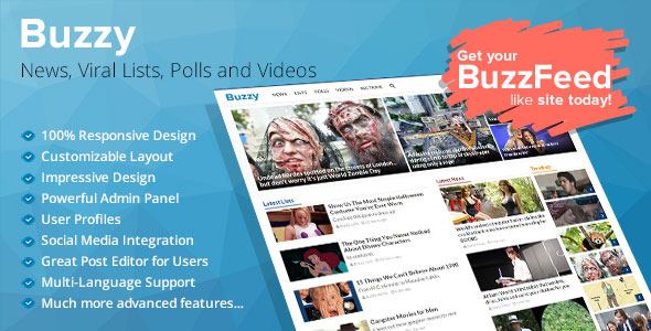 Buzzy v3.0.3 Nulled - News, Viral Lists, Polls and Videos