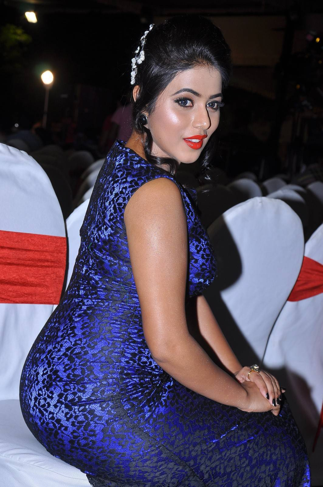 Actress Poorna In Blue Dress At Movie Audio Launch