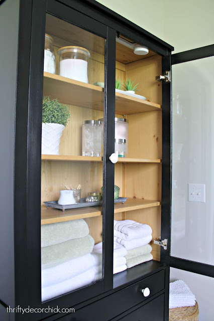 Painted tall Hemnes cabinet for bathroom