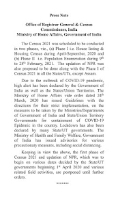 House listing & Housing Census and updation of NPR is Postponed due to Covid -19.