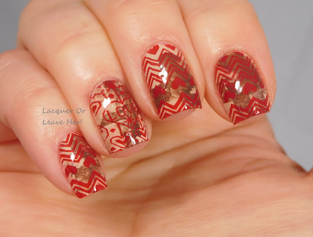 Born Pretty Store Harnouta-L029 over Zoya Tatum, Cathy, and Gina, stamped with Messy Mansion Red-y Or Not