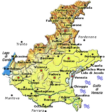 Veneto Province Cartina.Italy Map Geographic Region Province City Veneto Map Geography Regions