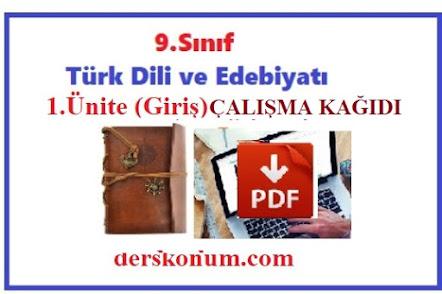 9.Sınıf Türk Dili ve Edebiyatı Giriş Ünitesi Çalışma Kağıdı