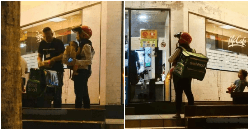 Photo of 'GrabFood Mom' taking care of baby outside McDonald's warms hearts