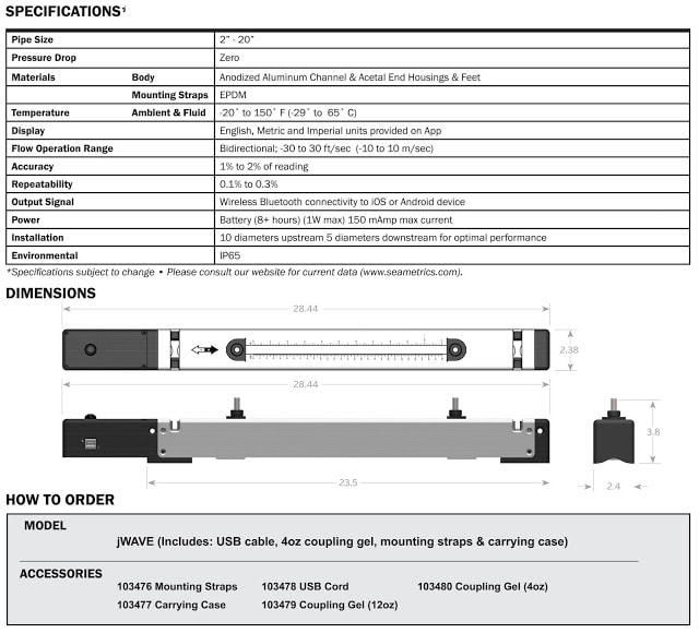 specification of jwave ultrasonic flowmeter