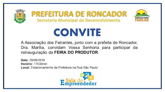 Roncador: Reinauguração da Feira do Produtor Rural acontece amanhã!