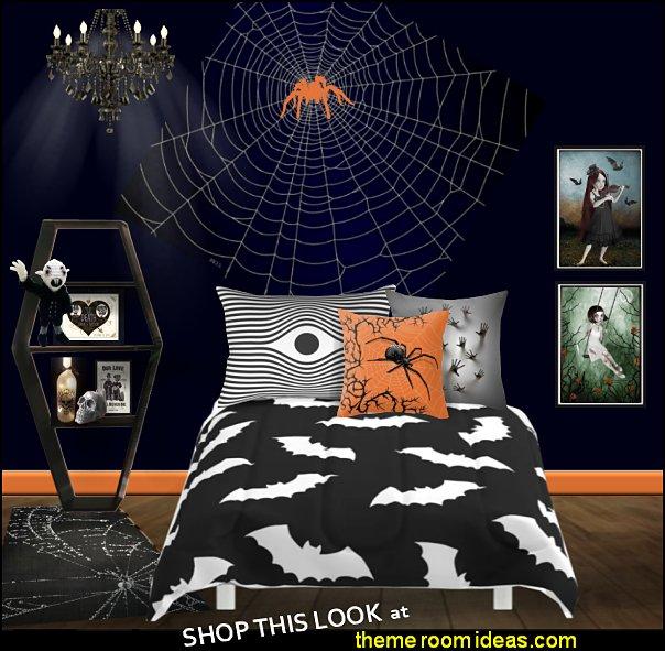 halloween  bedroom spider web mural  maries manor bedrooms