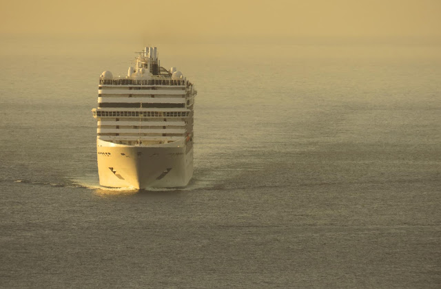 a cruise ship arriving