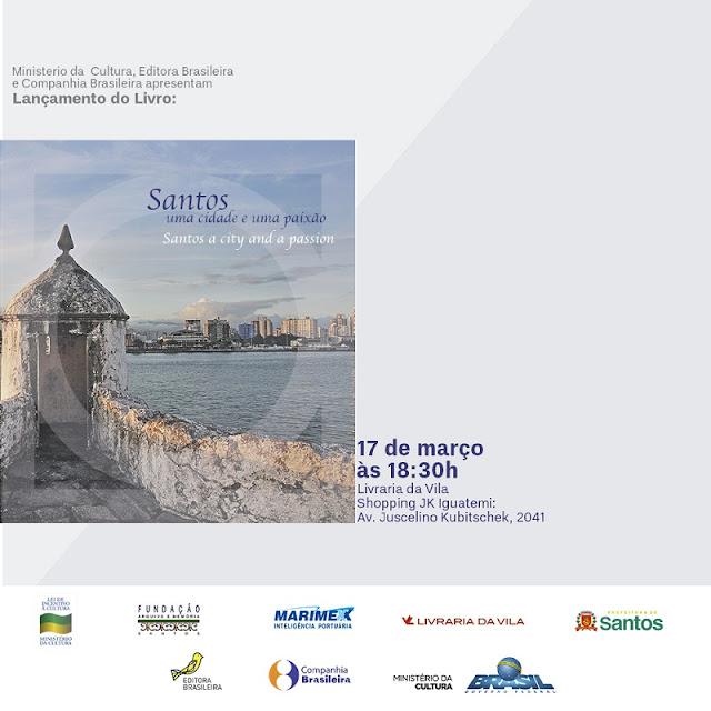 """lançamento do livro """"Santos: uma cidade e uma paixão"""", divulgação blog Carina Pedro"""
