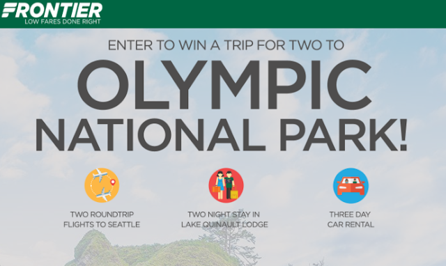 Frontier Airlines wants you to enter once for your chance to win a trip for two to Olympic National Park, complete with flights, lodging and even a car rental!