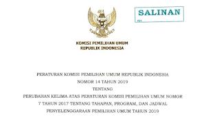 Download PKPU RI Nomor 14 Tahun 2019